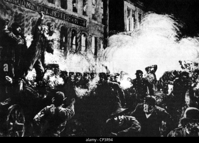 events, Haymarket Riot, May 1886, policemen beat demonstrators with sticks, strike, strikes, riot, riots, tumult, - Stock Image