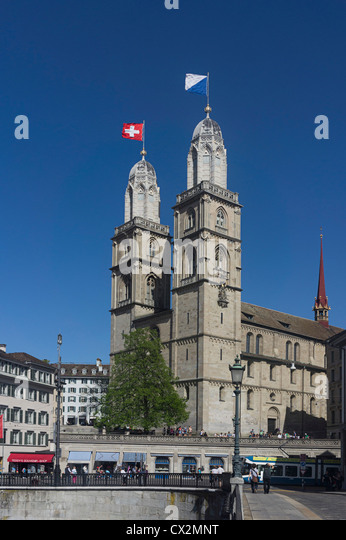 Grossmuentser, kathedral, Zurich,  - Stock Image