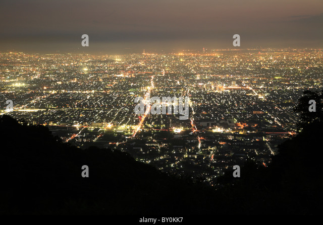 Night View of Osaka City, Higashiosaka, Osaka, Japan - Stock Image