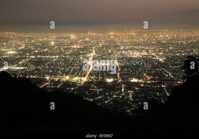 Night View of Osaka City, Higashiosaka, Osaka, Japan - Stock Image