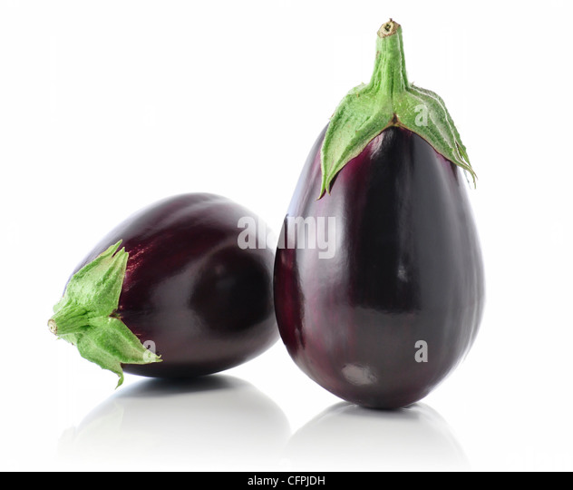 eggplants on white background - Stock Image