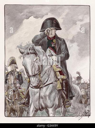 Mounted on his horse Marengo,  He watches the progress of a  battle with the aid of a spy- glass       Date: 1769 - Stock Image