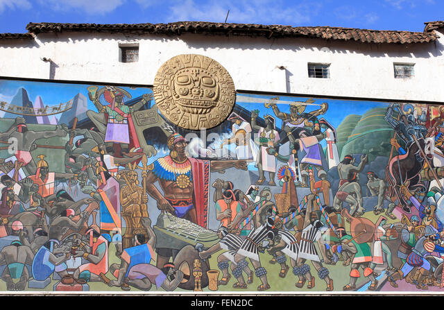 Part Of The Mural In Cusco By Juan Bravo Depicting Events In The Inca Civilization - Stock Image