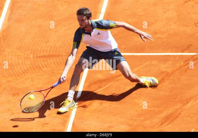 April 15, 2013 - Monte Carlo, Monaco - MONTE CARLO, MONACO - APRIL 15: Gilles Simon of France hits the ball during - Stock Image