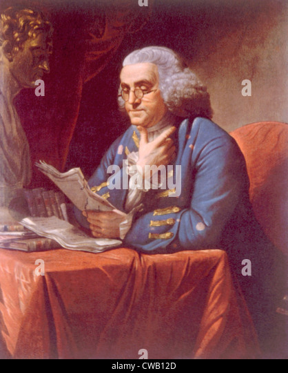 Benjamin Franklin (1706-1790), portrait by David Martin, 1767 - Stock Image