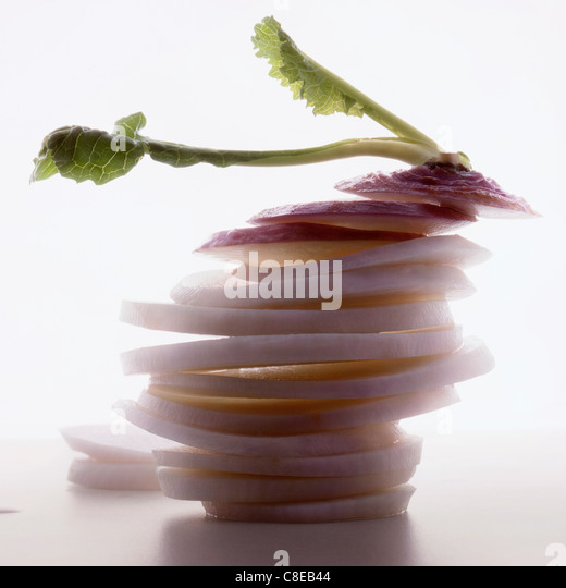 Thinly sliced turnip - Stock Image