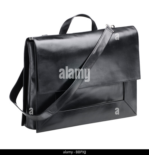 Black leather womans shoulderbag - Stock Image