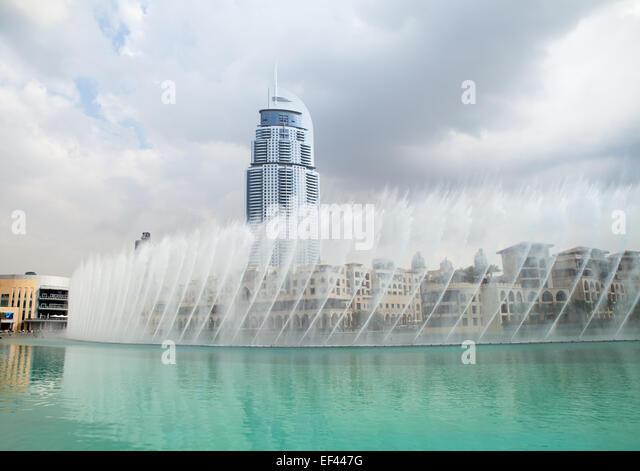 Dubai Business Bay fountains show - Stock Image