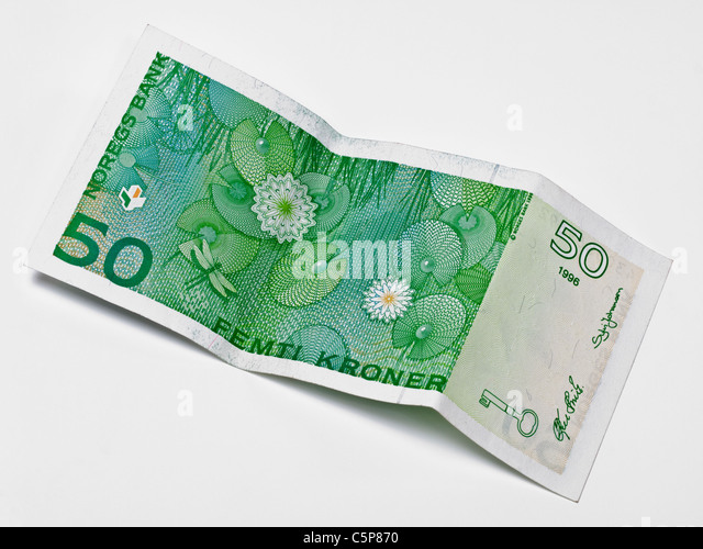 Detailansicht von 50 norwegischen Kronen   Detail photo of 50 Norwegian kroner - Stock-Bilder