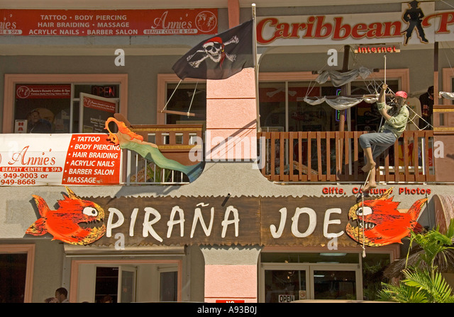 George Town Grand Cayman Pirana Joe bar store pirate figure - Stock Image