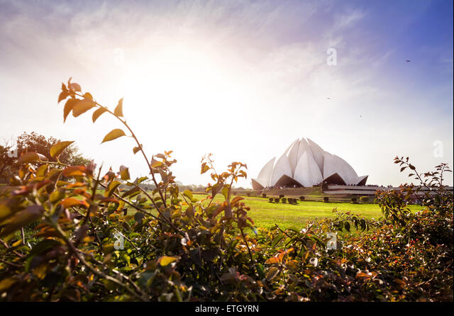 Lotus temple at sunset in New Delhi, India - Stock Image