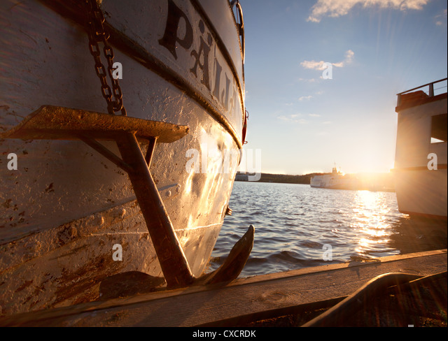 ships anchor in port - Stock Image