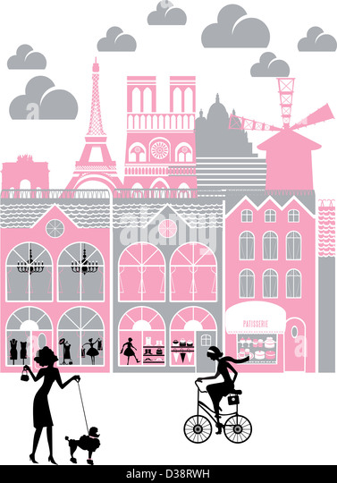 City with montage of landmarks, Eiffel Tower, Paris, France - Stock Image