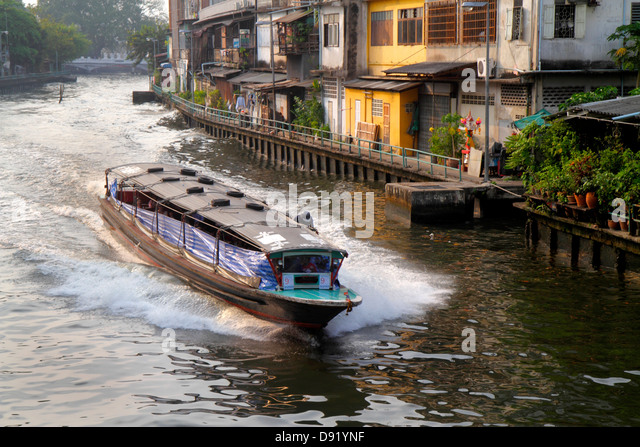 Thailand Bangkok Pom Prap Sattru Phai Mahanak Canal Worachak Road water taxi ferry express boat - Stock Image
