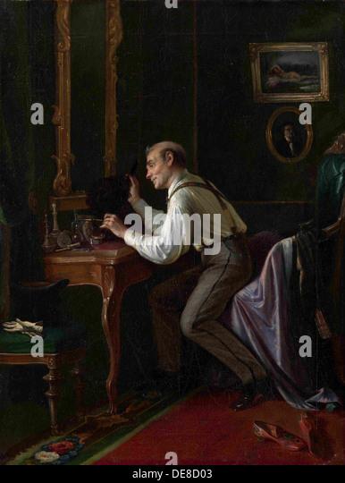 At the Dressing Table, 1872. Artist: Gribkov, Nikolai Yakovlevich (Mid of 19th cen.) - Stock Image