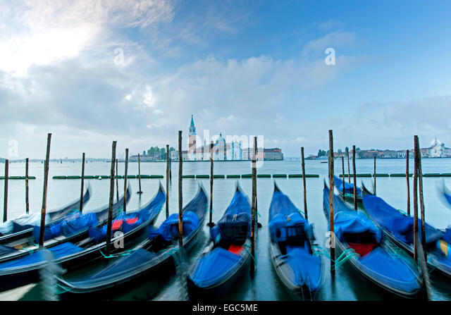 Gondolas and San Giorgio Maggiore Church, Venice, Italy - Stock Image