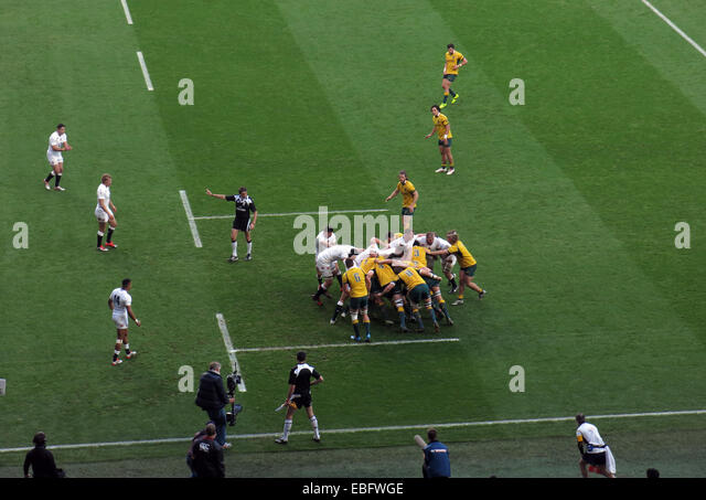 England v Australia Rugby Scrum at Twickenham, London, England, UK - Stock Image