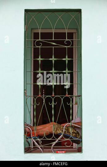 Cuba, Matanzas, View a screened balcony - Stock Image