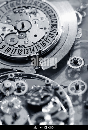 Interior parts of watch, close up - Stock Image