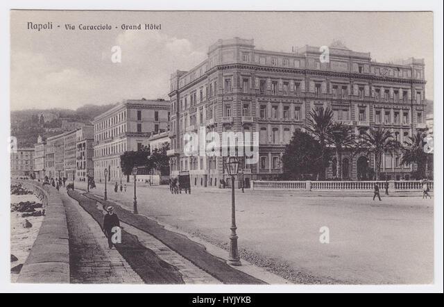 Grand Hotel & Via Caracciolo, Naples, Italy - Stock Image