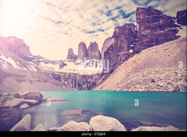 Vintage photo of Torres del Paine National Park, Patagonia, Chile - Stock Image