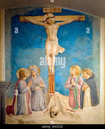 Crucifixion with the Virgin and Saints Cosmas, John the Evangelist and Peter Martyr, Cell 38, by Fra Beato Angelico, - Stock Image