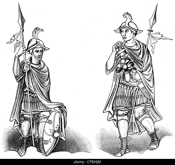 Historical print from the 19th century, Frankish warriors from the 9th century, Historische Druck aus dem 19. Jahrhundert, - Stock Image