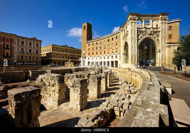 The Roman Amphitheatre. Lecce, Apulia, Italy - Stock Image