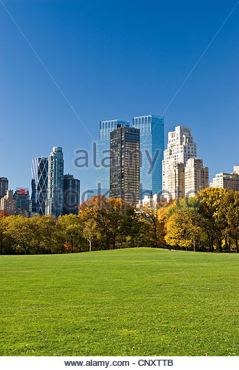Central Park and New York City Skyline with Hearst Tower, Trump International Tower, Time Warner Center and 15 Central - Stock-Bilder