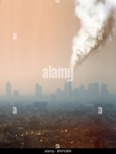a view of atmospheric air pollution from factory - Stock Image