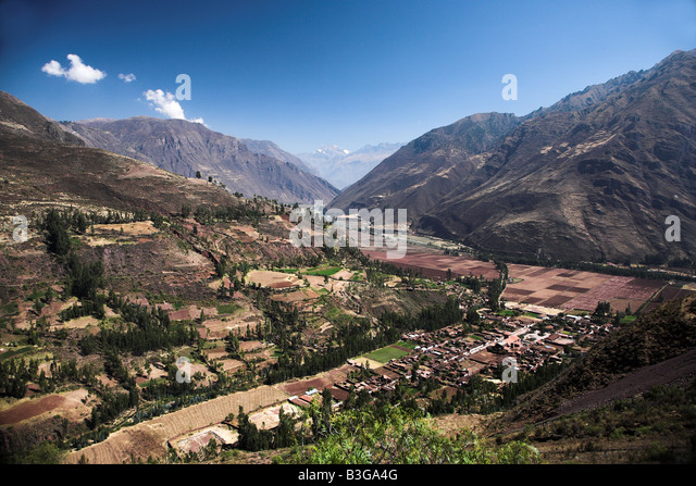 Views of the Urubamba Valley in the Sacred Valley, Peru. - Stock Image