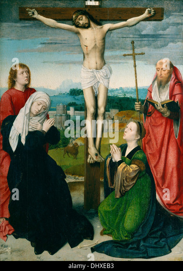 The Crucifixion - by Gerard David, 1495 - Stock Image