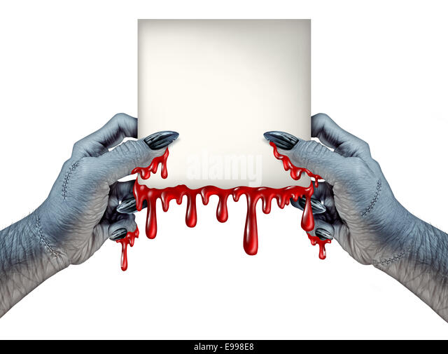 Zombie hands sign as bloody a monster holding a blank blood dripping card sign on a front view as a creepy halloween - Stock Image