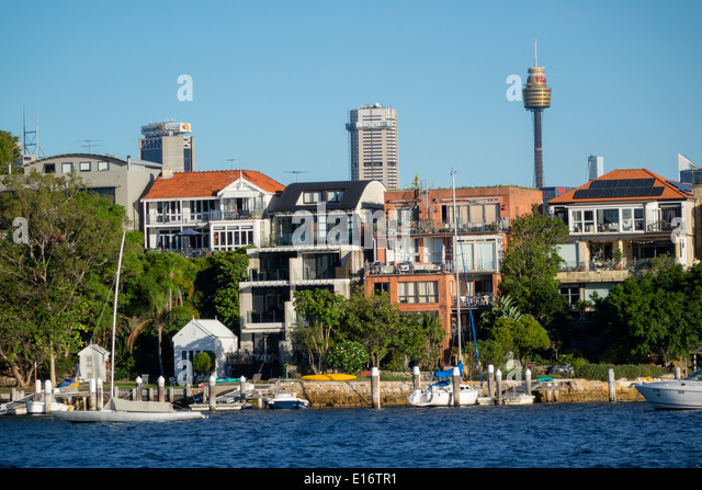 Sydney Australia NSW New South Wales Harbour harbor water waterfront homes houses Birchgrove Balmain Central Business - Stock Image