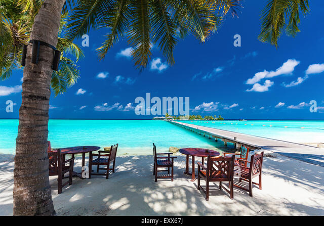 Tables and chairs in the shadow of palm tree on amazing tropical island - Stock Image