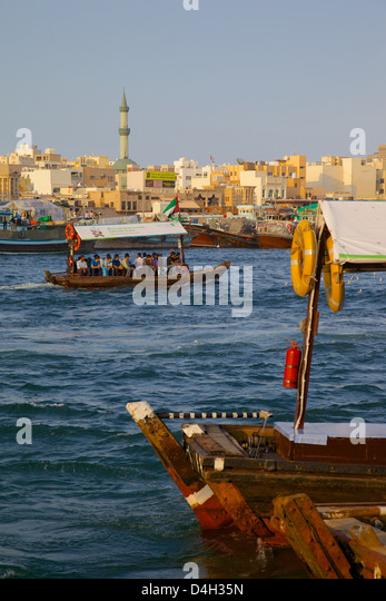 Water taxi on The Creek, Dubai, United Arab Emirates, United Arab Emirates, Middle East - Stock Image