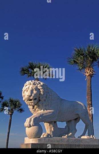 St Augustine FL bridge of lions statue - Stock Image
