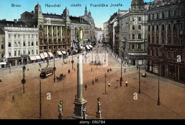 Bnro - coloured photograph of Freedom Square in the Czech city in the early twentieth century. Janacek connection. - Stock Image