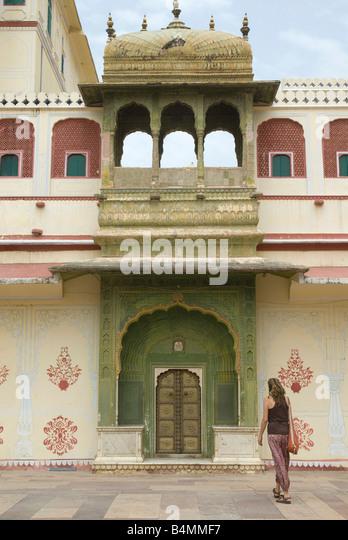 India Rajasthan Jaipur Mubarak Mahal sandstone palace in the City Palace complex - Stock-Bilder