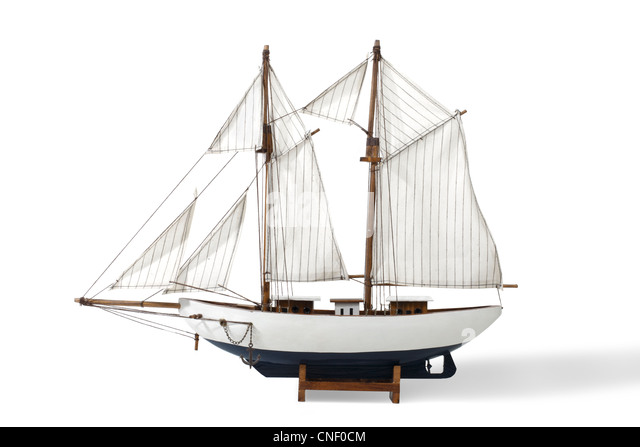 Studio shot of a Toy Sailboat - Stock Image