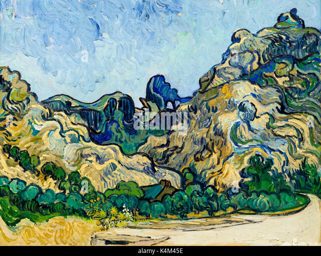 Mountains at Saint-Remy with Dark Cottage, by Vincent van Gogh, 1889, Solomon R. Guggenheim Museum, Manhattan, New - Stock Image
