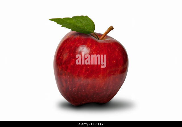 red apple with green leaf isolated on white with clipping Path - Stock Image