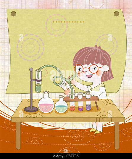 Girl In Laboratory - Stock Image