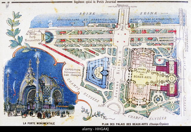 Illustration showing a plan of the exhibition areas for the Exposition Universelle of 1900. - Stock Image