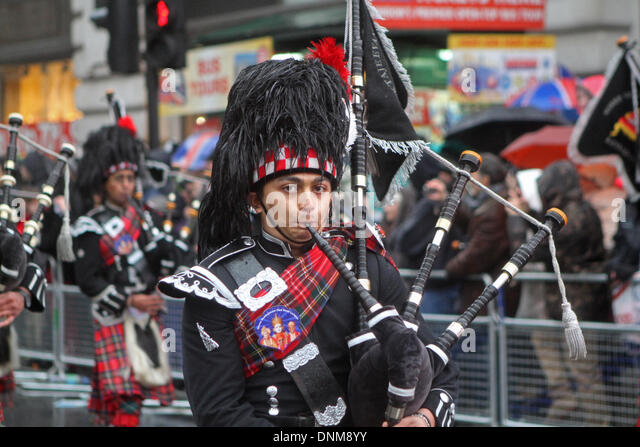 London,UK,1st January 2014,Highland Pipers at the London's New Year's Day Parade 2014 Credit: Keith Larby/Alamy - Stock Image