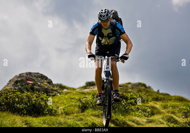 Mountain biker, Alpbachtal, North Tyrol, Austria, Europe - Stock Image