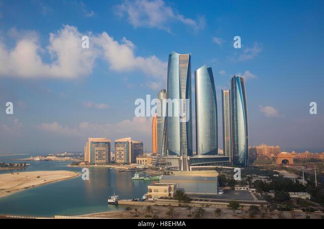 View of Etihad Towers, Abu Dhabi, United Arab Emirates, Middle East - Stock Image