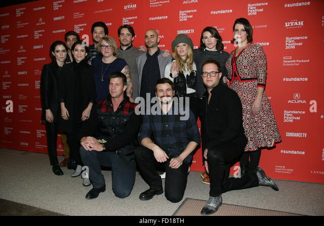Park City, UT, USA. 26th Jan, 2016. Tegan Quin, David Bernon, Sara Quin, David Ben Schwartz, Mel Eslyn, Vincent - Stock Image