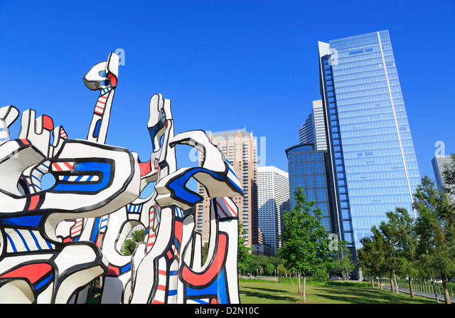 Monument Au Fantome by Jean Dubuffet in Discovery Park, Houston, Texas, United States of America, North America - Stock Image