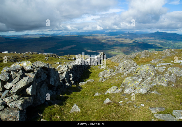 Snowdonia from Aran Fawddwy in the Aran mountains, near Bala, Snowdonia, North Wales, UK - Stock Image